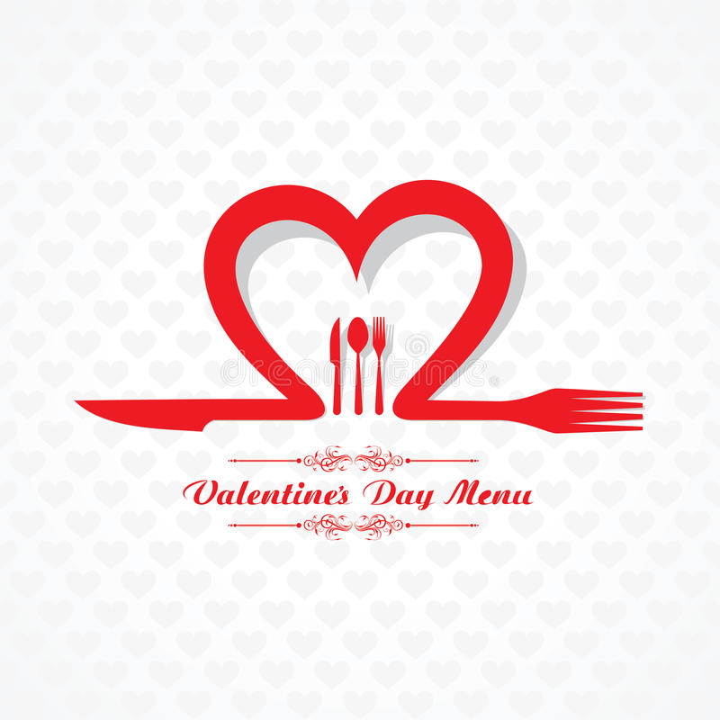 Design de carte de menu de restaurant de Saint Valentin illustration libre de droits