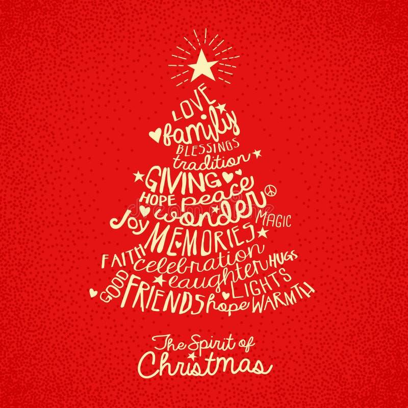 Design de carte de salutation d'arbre de Noël illustration stock