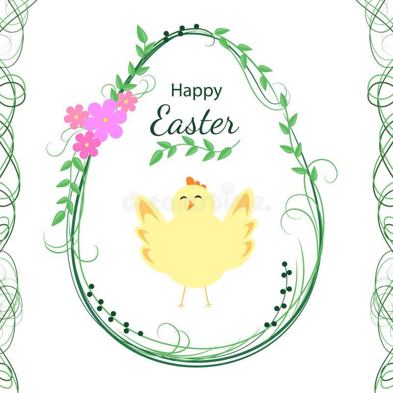 Design de carte de salutation de Pâques Joyeuses Pâques Oeuf floral avec le poussin Illustration de vecteur illustration stock