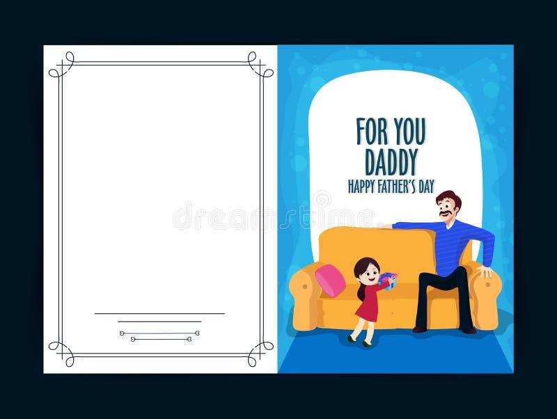 Design de carte de salutation pour la célébration du jour de père illustration stock
