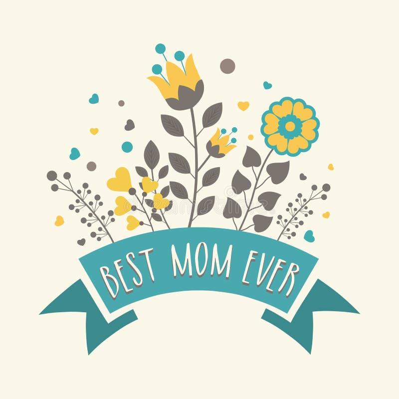 Design de carte de salutation pour la célébration heureuse du jour de mère illustration libre de droits