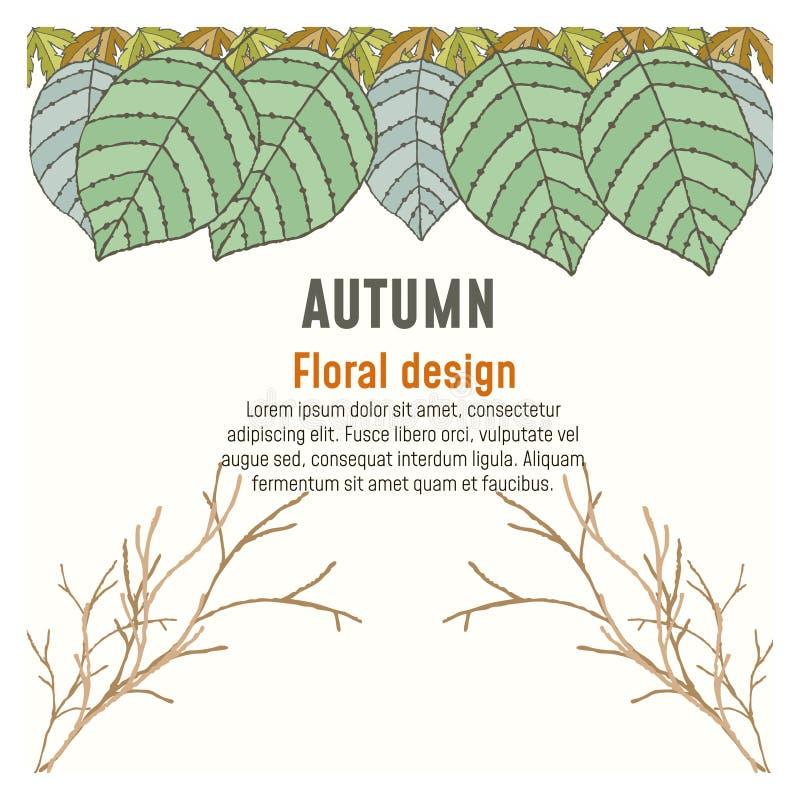 Design de carte floral d'affiche d'automne de verdure illustration libre de droits