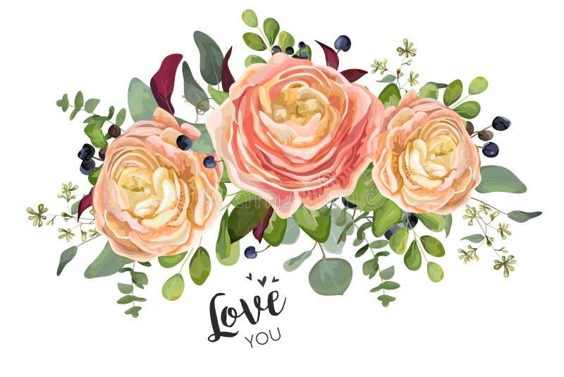 Design de carte floral de vecteur : fleurs roses de Ranunculus de pêche de jardin illustration libre de droits
