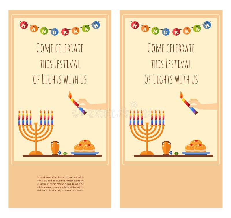 Design de carte heureux de salutation de Hanoucca, neigeant