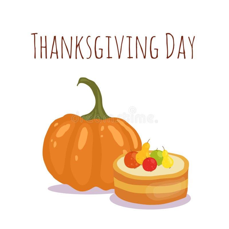 Design de carte heureux de jour de thanksgiving avec des objets de vacances Style d'appartement et de bande dessinée pour votre c illustration de vecteur