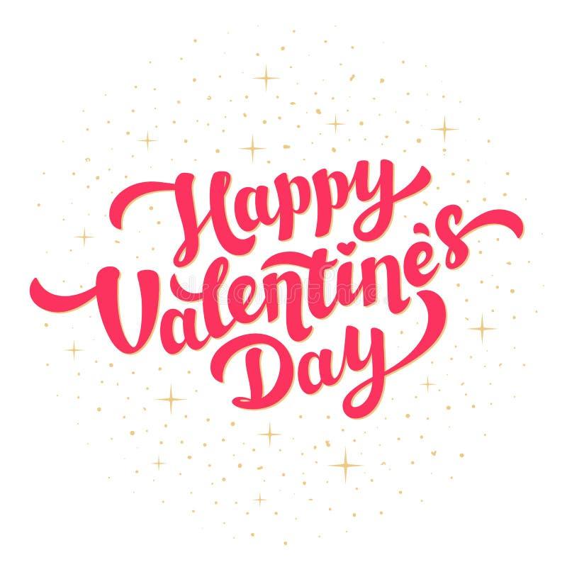 Design de carte heureux de salutation de jour de valentines L'inscription rose lumineuse avec l'aluminium d'or miroite sur le fon illustration libre de droits