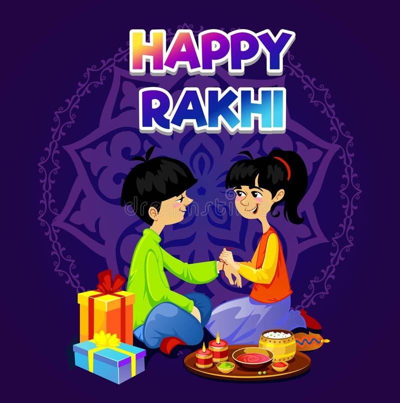 Design de carte heureux de salutation de Rakhi avec le frère et la soeur Vecteur illustration de vecteur