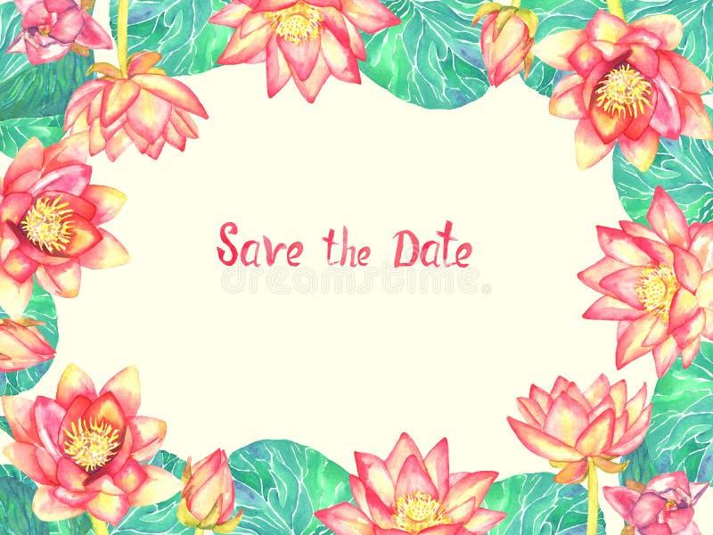 Design de carte horizontal de salutation de cadre des fleurs de lotus roses sur le fond jaune mou illustration stock