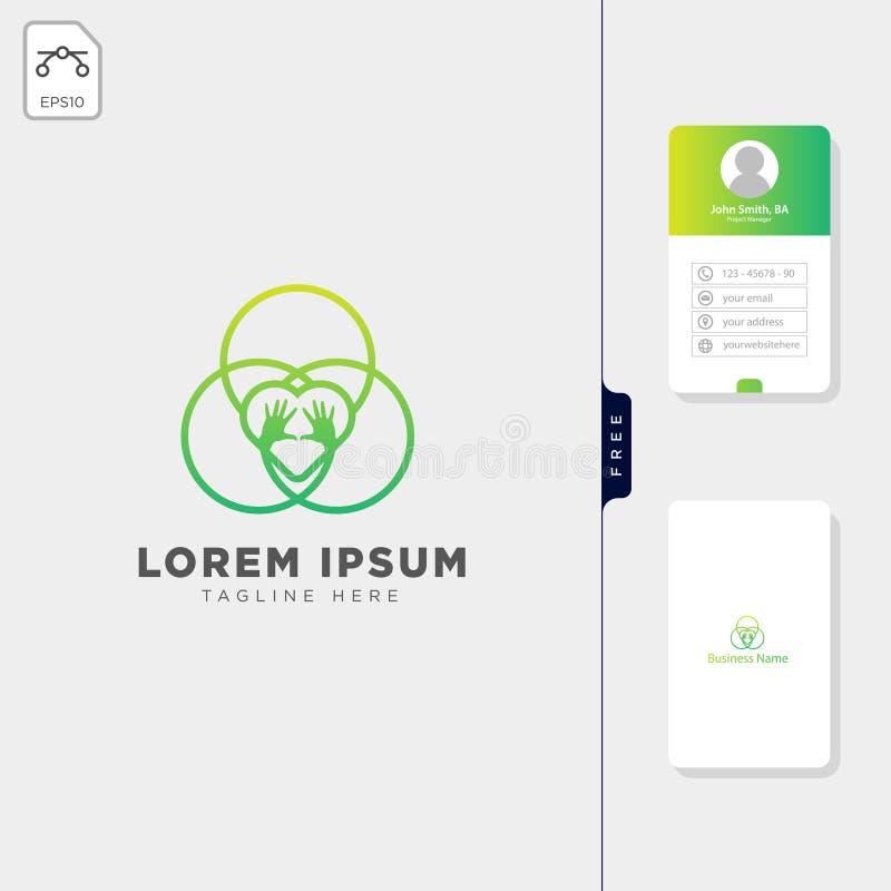 design de carte libre d'affaires d'illustration de vecteur de calibre de logo de main de soin d'équipe de groupe illustration libre de droits