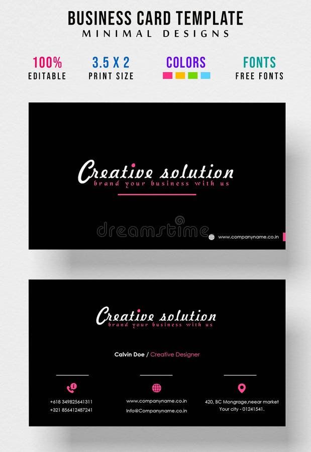 Design de carte lumineux moderne minimal d'affaires de couleur illustration libre de droits