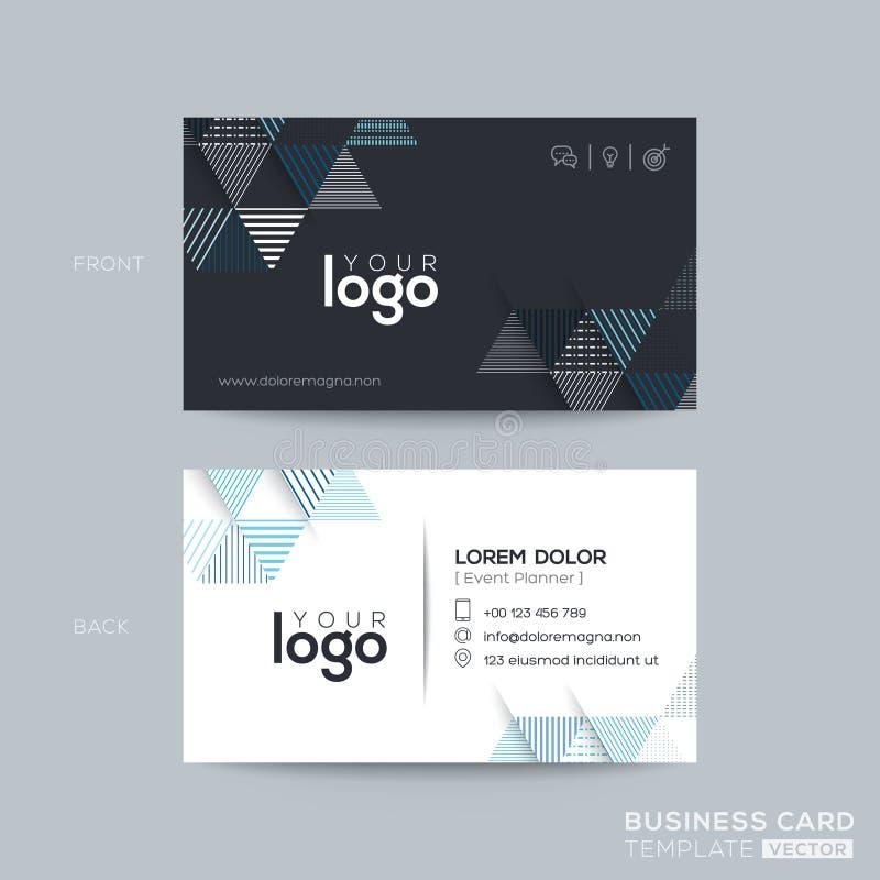 Design de carte moderne d'affaires de triangle bleue et noire illustration de vecteur