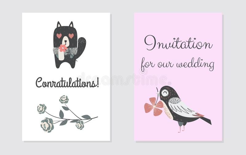 Design de carte nouveau-né de conratulation Illustration de vecteur pour votre invitation de mariage illustration stock