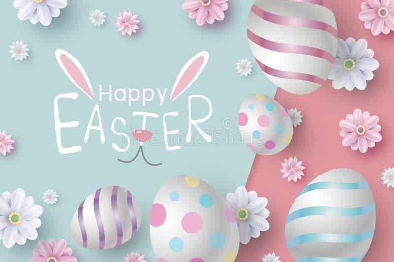 Design de carte de Pâques des oeufs et des fleurs sur l'illustration de vecteur de papier de couleur illustration de vecteur
