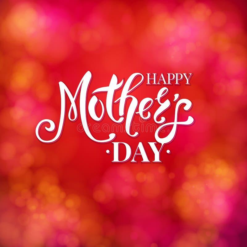 Design de carte rouge vibrant coloré de jour de mères illustration de vecteur
