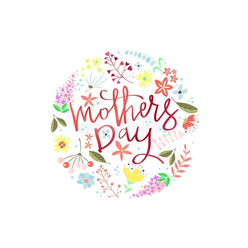 Design de carte de salutation avec le jour de mères élégant des textes illustration stock