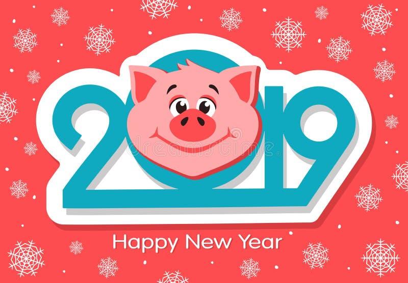 Design de carte de salutation de bonne année avec le visage de porcs de bande dessinée illustration libre de droits