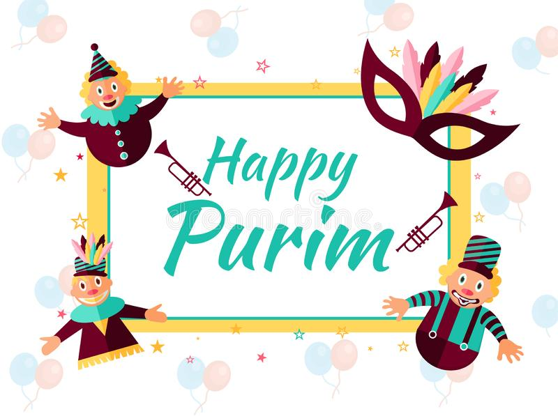 Design de carte de salutation heureux de Purim avec les farceurs et le masquera drôles illustration stock
