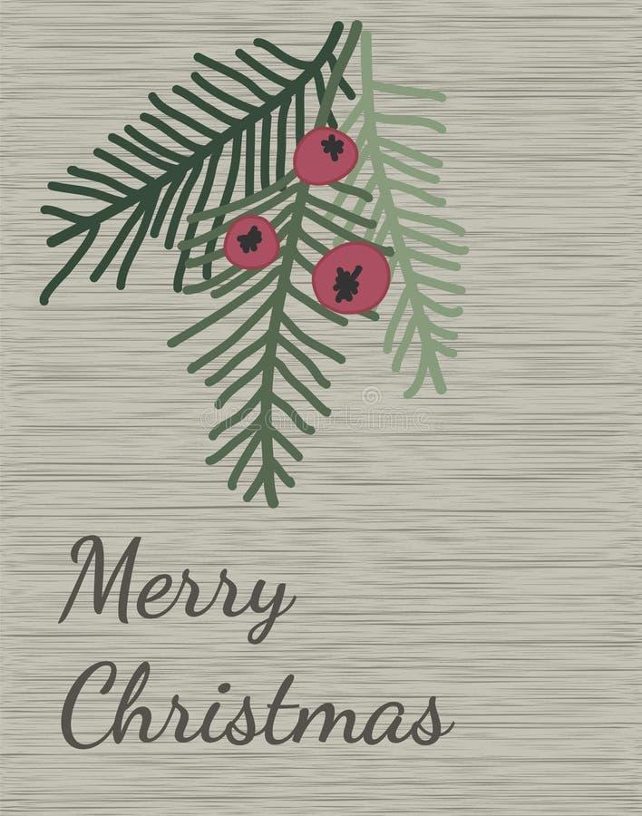 Design de carte de salutation de Joyeux Noël et de bonne année Branches d'arbre de baccata de Taxus avec les baies et les brindil illustration stock
