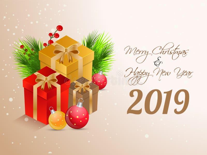 Design de carte de salutation de la bonne année 2019 avec des boîte-cadeau et le bau illustration stock