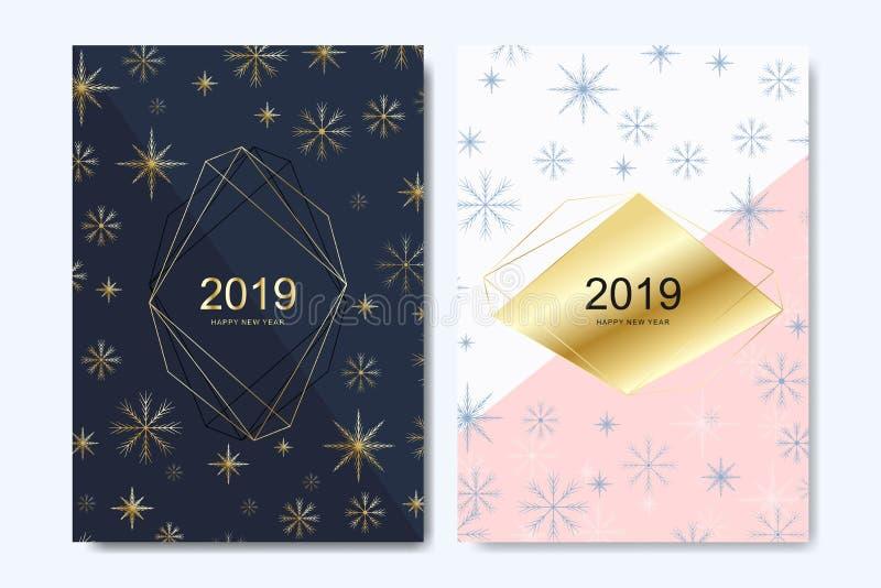 Design de carte de salutation de nouvelle année avec avec les flocons de neige d'or Bonne année 2019 de calibre de carte de voeux illustration stock