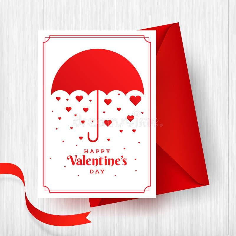 Design de carte de salutation de Saint-Valentin avec l'illustration du parapluie et des formes minuscules de coeur illustration de vecteur
