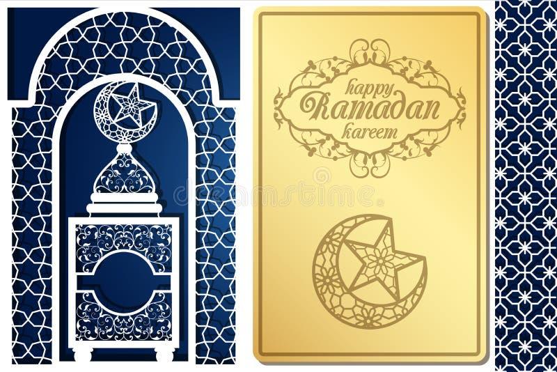 Design de carte de salutation de style arabe pour la coupe de laser Image pour le kareem islamique traditionnel de Ramadan de vac illustration stock