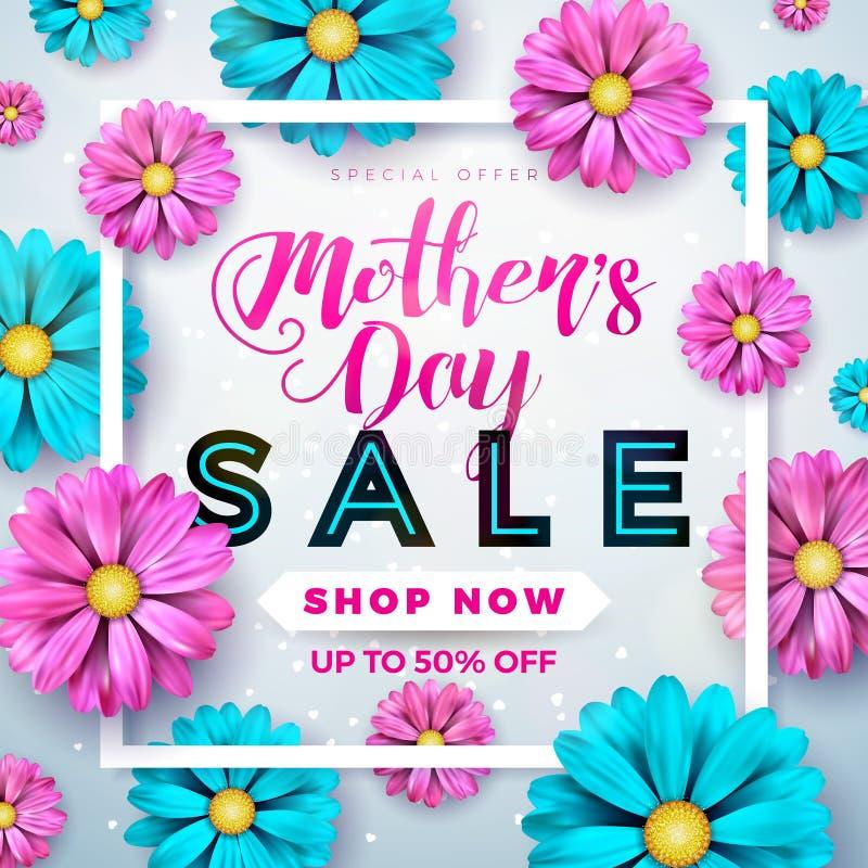 Design de carte de salutation de vente de jour de mères avec la fleur et éléments typographiques sur le fond abstrait Célébration illustration stock