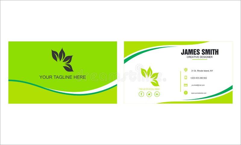 Design de carte vert d'affaires avec illustration stock
