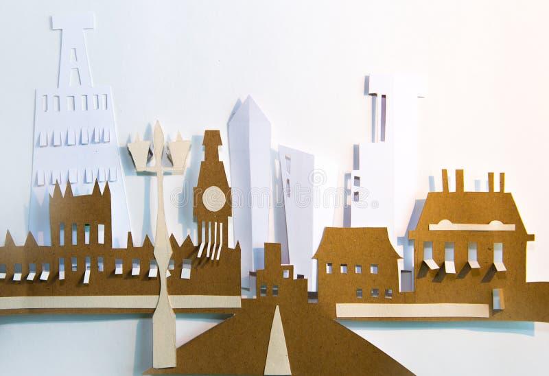 Design de corte de papel Visão abstrata de Londres com a ponte Westminster, vista Big Ben e City imagem de stock royalty free