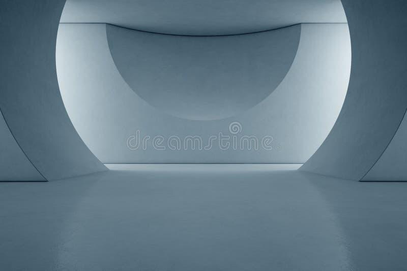 Design de interiores abstrato da sala de exposições moderna com fundo vazio do assoalho e do muro de cimento ilustração stock