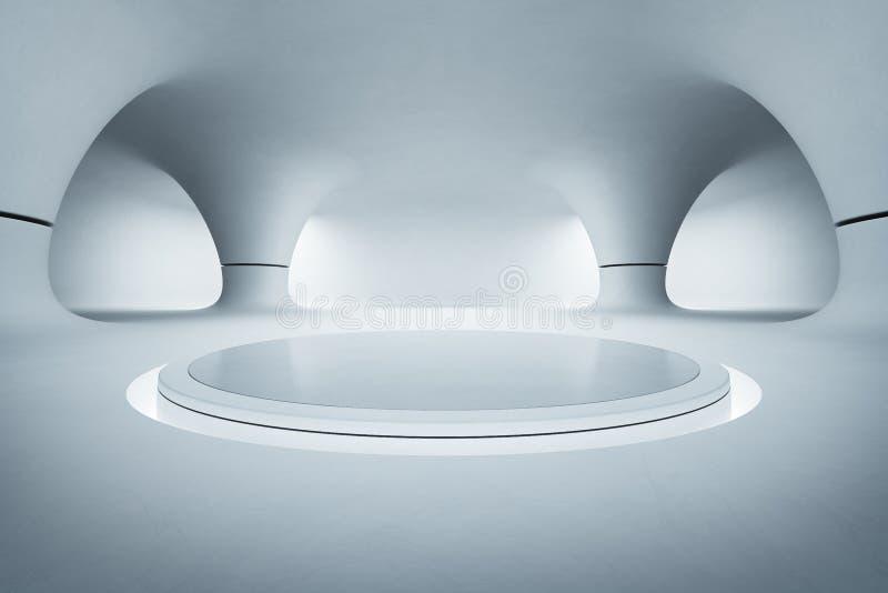 Design de interiores abstrato da sala de exposições moderna com o assoalho branco vazio e fundo liso do muro de cimento, pódio pa ilustração stock