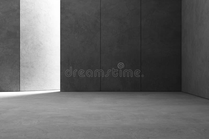 Design de interiores abstrato da sala de exposições moderna com o assoalho concreto cinzento vazio e fundo escuro da parede fotografia de stock