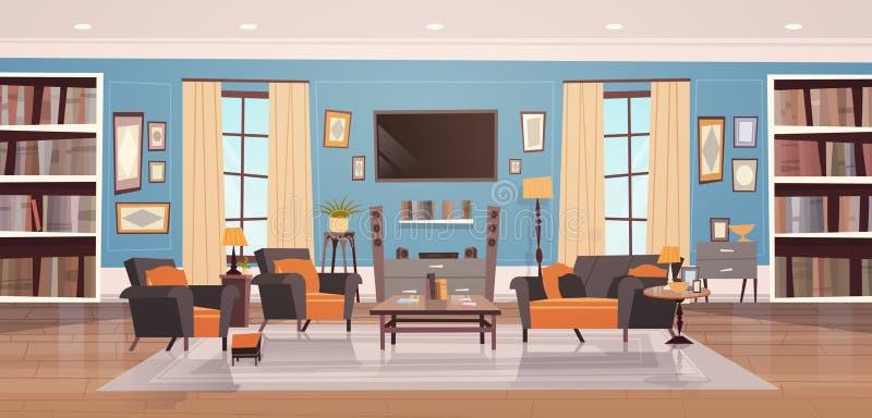 Design de interiores acolhedor da sala de visitas com mobília moderna, Windows, sofá, poltronas da tabela, biblioteca e tevê ilustração royalty free