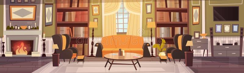Design de interiores acolhedor da sala de visitas com mobília, sofá, poltronas da tabela, biblioteca da chaminé, bandeira horizon ilustração do vetor
