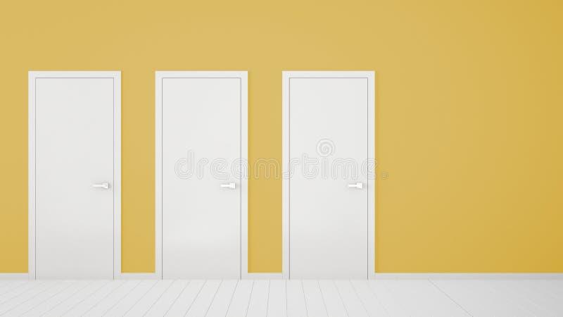 Design de interiores amarelo vazio da sala com as portas fechados com quadro, puxadores da porta, assoalho branco de madeira Esco ilustração stock