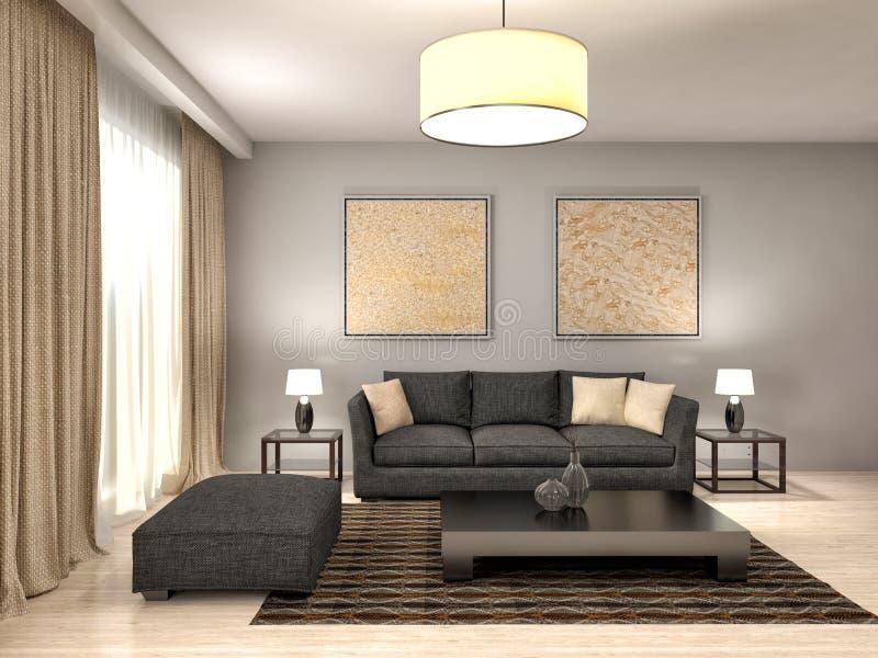 Design de interiores branco moderno da sala de visitas ilustração 3D ilustração stock