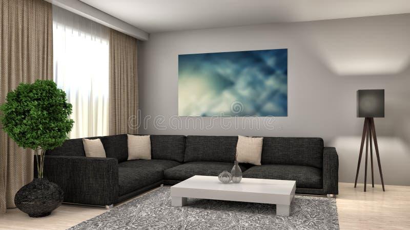 Design de interiores branco moderno da sala de visitas ilustração 3D ilustração royalty free