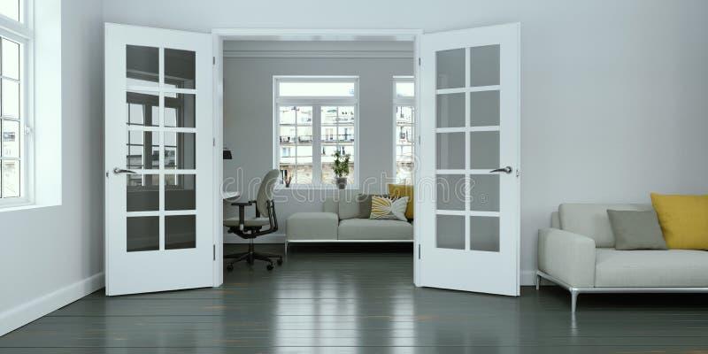 Design de interiores branco moderno da sala de visitas ilustração do vetor