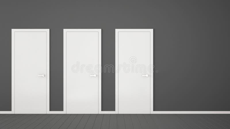 Design de interiores cinzento vazio da sala com as portas fechados com quadro, puxadores da porta, assoalho cinzento de madeira E ilustração royalty free