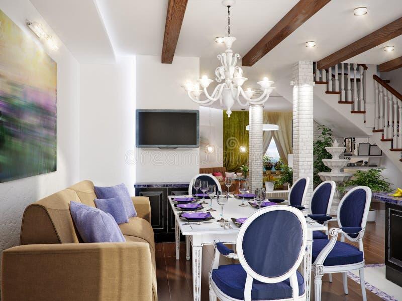 Design de interiores clássico da sala de jantar e da cozinha ilustração stock