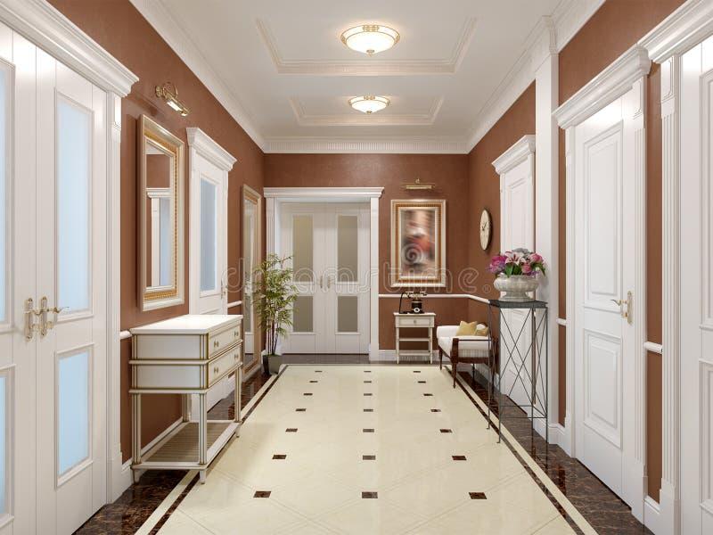 Design de interiores clássico e luxuoso elegante do salão ilustração stock