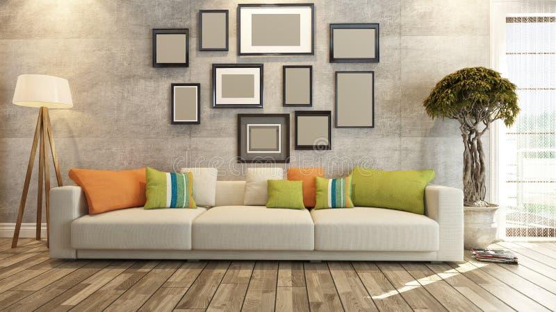 Design de interiores com quadros na rendição do muro de cimento 3d