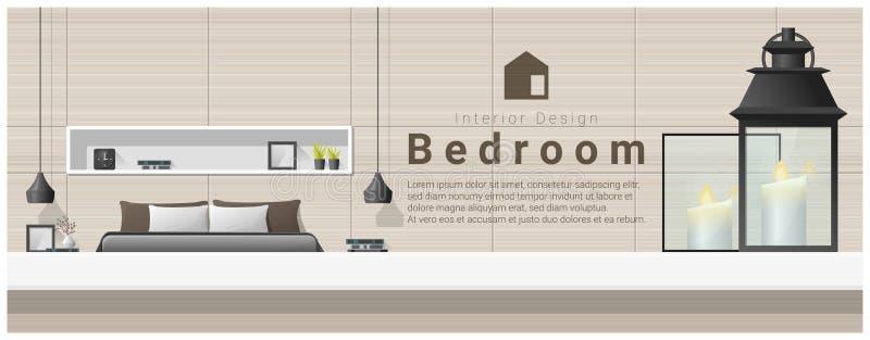 Design de interiores com tampo da mesa e fundo moderno do quarto ilustração do vetor
