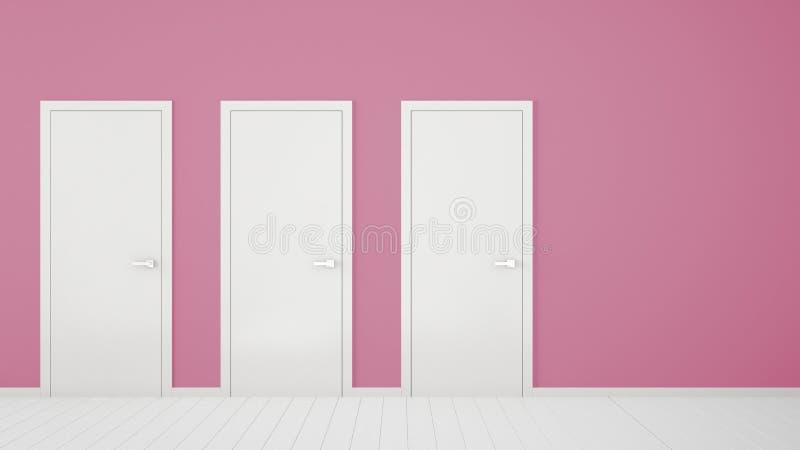Design de interiores cor-de-rosa vazio da sala com as portas fechados com quadro, puxadores da porta, assoalho branco de madeira  ilustração stock