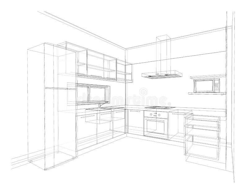 Design de interiores, cozinha ilustração stock