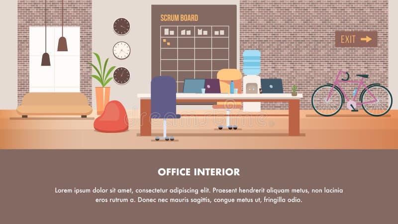 Design de interiores criativo moderno do escrit?rio de Coworking ilustração royalty free
