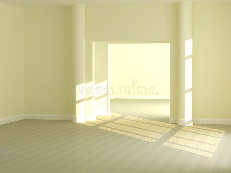 Design de interiores da grande sala de estar clara. ilustração stock