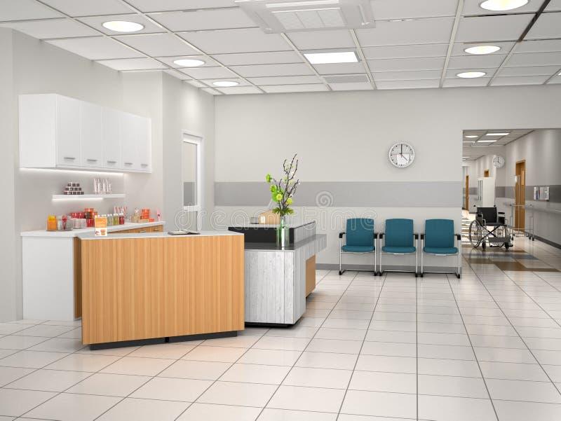 Design de interiores da recepção da pensão ilustração 3D ilustração do vetor