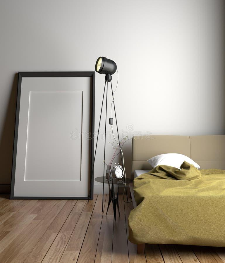 Design de interiores da sala branca com lâmpada e pulso de disparo do quadro na tabela de vidro e no descanso branco na cama amar ilustração do vetor