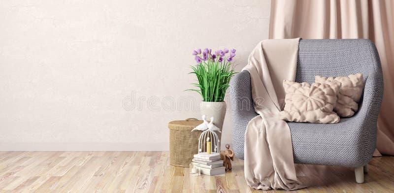 Design de interiores da sala de visitas moderna com poltrona, manta e descansos, rendição 3d ilustração do vetor